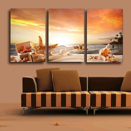 Wholesale Sunrise Oil Painting - Free Shipping 3 Piece Shell Drift Bottle Sunrise Modern Home Wall Decor Canvas Picture Art HD Print Painting On Canvas Artwork