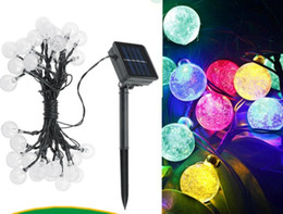 Wholesale Led Strip 6m - High Quality Solar Powered Led Outdoor String Lights 6M 30LEDs Crystal Ball Globe Fairy Strip Lights for Outside Garden Party Christmas LLFA