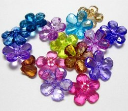 Wholesale Beads Colour - Hot ! 120pcs Mixed Colour Transparent Acrylic Flower Beads 22mm Center Drilled Flower DIY Jewelry