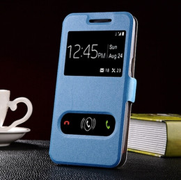 Wholesale Smart Flip Cell Phones - Samsung GALAXY Grand Prime Case Flip Leather Open Windows Smart Cases for g5308w Cell Phone Back Cover Retail 1 pc