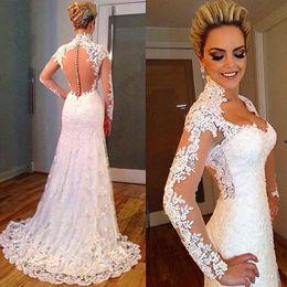 Wholesale Slim Fitting Wedding Dresses - Latest Designs Sweetheart Lace Long Sleeves Vintage Wedding Dresses 2016 Slim FIt Customized Bride Wedding Gowns Vestidos De Noiva