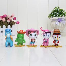 juguetes de vaqueros Rebajas 7 cm 5 unids / set Wild West Sheriff Figuras de juguete Vaquero Sheriff Callie Cat Toby Horse Peck Dolls