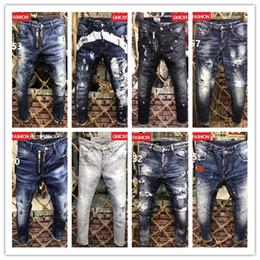 Wholesale jeans trousers fashion brands - 2018 High quality fashion New Style Brand Men's Denim Jean Embroidery Tiger Pants Holes Jeans Zipper Men Pants Trousers