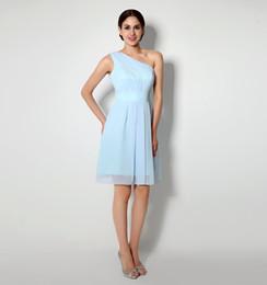 Wholesale One Shoulder Dresses For Juniors - Short Knee Length Bridesmaids Dresses For Wedding Cheap One Shoulder Blue Chiffon Beach Under 50 Junior Formal Party Maid Of Honor Dress