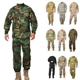 Wholesale Camo Cargo Pants Blue Green - Men Tactical jacket sets cargo pants uniform waterproof camouflage tactical bdu combat uniform camo men clothing