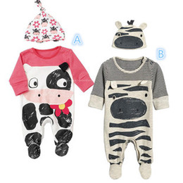 Wholesale Cow Hats - 2015 New Baby Cotton long sleeve Cute zebra Cows even the foot rompers +hats 2pcs Sets boys girls costumes Toddlers Modeling Romper C001