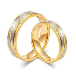 Wholesale 18k Gold Alliance - Engagement and wedding rings 18K gold rings fashion couple rings for man and women stainless steel alliances