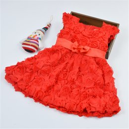 Wholesale wholesale red wedding dresses - New Style Baby Dress Red Rose Flower Girls Short Sleeve Princess Dress Babies Wedding Dress Toddler Dresses Kids Clothes