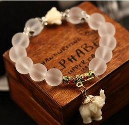 Wholesale white resin elephants - Hot New Fashion Charm Bracelet Scrub Crystal Bracelet Elephant Lucky Bracelet Fashion Women Jewelry Free Shipping