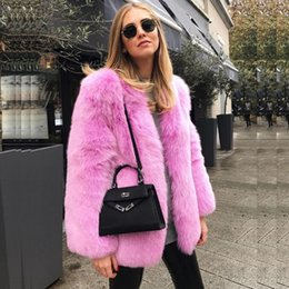 Wholesale Wrap Jackets For Women - Barbie Pink Winter Jacket For Women Top Quality Fashion Faux Fur Coat Wedding Wraps Long Bridal Accessories In Stock
