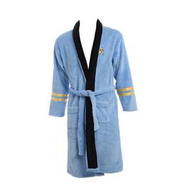 Wholesale Star Light Items - New Star Trek items Spock Light Blue BathRobe Fleece Sleepwear Blue Costume Xmas Birthday Gifts for Men