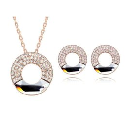 Wholesale Sell Swarovski Necklace - Sterling Hot Sale Direct Selling Women 2015 Gifts! Crystal Circle Necklace Earrings Set Made With Swarovski Elements #89798