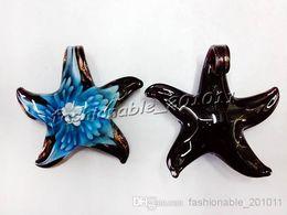 Wholesale Murano Starfish - NEW DIY Charm European Beads Starfish Multi-Color Lampwork Murano Glass Flower In Pendants Necklaces Wholesale Retail FREE #pdt71c