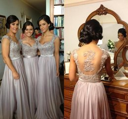 Wholesale Best Long Back Dress - 2015 Best selling Bridesmaid Prom dresses chiffon A line lace appliques see through tulle back sequins evening gowns cap sleeves BO2673
