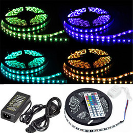 Wholesale Led Strip Roll Black Pcb - 5050 RGB 60LED LED Strip Light PCB black Waterproof RGB Strip 60LED 5M roll DC12V Flexible strips 44 IR Remote controller 5A Adapter
