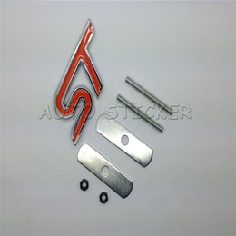 Wholesale St Grill Badge - Car Styling 3D Metal ST Front Hood Grille Badge Grill Emblem Auto Stickers Car Accessories For Ford Focus Red Black Blue
