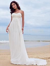 Wholesale Casual Beach Wedding Dresses Ruched - 2017 Bohemian Summer Beach Casual Wedding Dress Gown Chiffon Court Train Bridal Dress Gown Plus Size robe de mariage