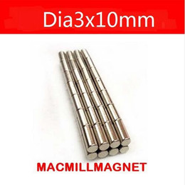 Wholesale Ndfeb Magnet Cylinder - NdFeB magnet Bulk Cylinder Magnet D3x10mm Neodymium Rare Earth Magnet Curtain Rods N35 50pcs pack, Free shipping
