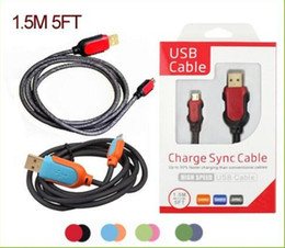 Wholesale Steel S4 - Steel Mesh Micro USB Charger Cable 1.5M 5FT Braided Nylon 5pin V8 Data Sync Charging Cord High speed data transfer Line For S3 S4 S5 note3