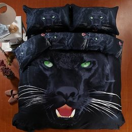 Wholesale King Size Panther Bedspreads - 3D Black panther bedding set super king size queen fitted cotton bed sheets quilt duvet cover double bedspread animal print 5pcs bedlinen