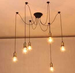 Wholesale Lamparas Diy - 2015 Real Lamparas Colgantes New Products Retro Classic Chandelier Gold E27 Pendants Holder Edison Diy Lighting Lamps Lanterns Messenger