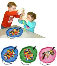 Wholesale size play mats - Portable Kids Toy Storage Bag Play Mat Big Toys Organizer Bin Box L Size for LEGO Toys Free Shipping