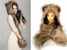 Wholesale Wholesale Ladies Winter Scarves - 12pcs lot Faux Fur Winter Hat Animal Wolf Hood Scarf Gloves Ladies Girls Mens Xmas Spirit Free Shipping