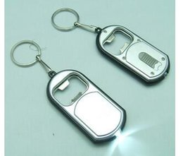 Wholesale Led Flashlights Key Chains - 3 in 1 LED Flashlight Torch Keychain With Beer Bottle Opener Key Ring Chain Keyring
