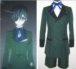 Wholesale Man S Halloween Costume - Anime Black Butler kuroshitsuji Ciel Phantomhive Cosplay Costume emboitement Green Party Wear set Halloween Clothing Set
