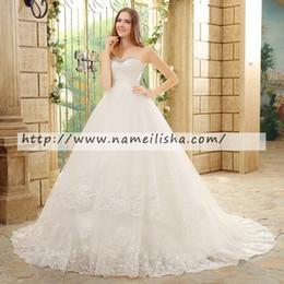 Wholesale Net Pictures - 2017 New Arrival White Net A-line Sweetheart Vintage Train Cheap Wedding dress Appliques Lace Bridal Gowns Plus Size Dresses of Bride