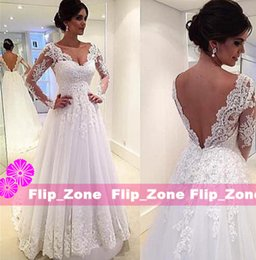 Wholesale Cheap Bridal Gowns Online - 2015 Princess Lace Wedding Dresses Sheer V-Neck Illusion Long Sleeves Backless A-line Floor-Length 2016 Cheap Bridal Gowns Plus Size Online