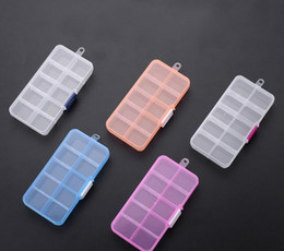 Wholesale Square Clear Plastic Boxes - 13.2*6.8*2.3cm 10 Grid Slots Clear Plastic Storage Box Adjustable Jewelry Storage Box Organizer