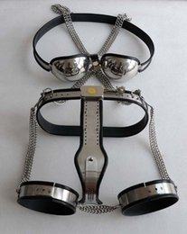 Wholesale Chastity Belt Bra T Type - Newest Female Male Fully Adjustable Chastity Device T-type Chastity Belt+Thigh Cuffs+Stainless Steel Bra BDSM suit J1547