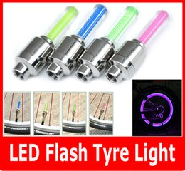 Wholesale Tire Lights For Cars - wholesale 2PCS Firefly Spoke LED Wheel Valve Stem Cap Tire Motion Neon Light Lamp For Bike Bicycle Car Motorcycle