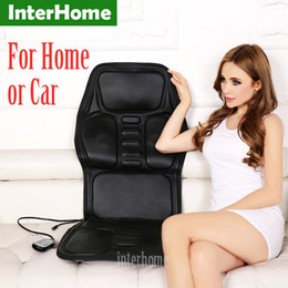 Wholesale Cervical Therapy - Professional Electric Car Seat Massage Cushion Heating Massage Cervical Neck Back Hips Legs Household Chair Massager PU Leather