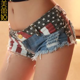 Mulheres verão europeu Curto Jeans Clube Roupas Low-waistline EUA Bandeira Padrão Buraco Super Mini Jeans Denim Drapeado Hip hop plus size 2XL cheap low hips jeans de Fornecedores de jeans baixos jeans