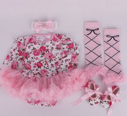 Canada Ins fille infantile bambin 4 pièces tenues fleur floral onesies barboteuse tutu + dentelle legging jambière + bandeau + chaussures zèbre bande 3 ensembles cheap infant zebra tutu Offre