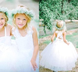 Wholesale Girls Strapless Pageant Dress - 2015 Latest Collection Bespoke Couture Ball Gown Flower Girl Dresses Strapless Tulle Feathery Ruffles Floor Length Girl Pageant Dresses