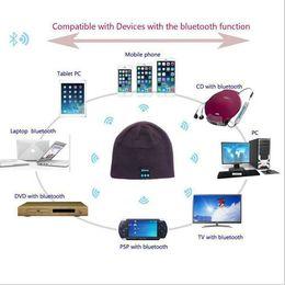 Wholesale Dj Headphone Girls - wholesale Wireless Bluetooth Music Hat Soft Keep Warm Cap Stereo Headphone Headset Speaker Microphone Multi-Function Voice DJ Caps girl woma