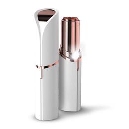 Wholesale Pcs Batteries - Women Epilator Wax Facial Hair Remover Razor Body Electric Hair Removal Painless Lipstick Shaving Tool 10 pcs lot