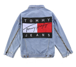Wholesale Jeans Zip Jackets - men denim jacket hip hop streetwear high quality men women Patch hilfige Zips jeans casual zipper denim jacket coats
