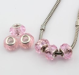 Wholesale Large Hole Glass Beads Wholesale - MIC 100pcs pink Faceted Crystal Glass Large Hole Beads Fit Charms Bracelets 14mm
