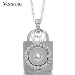 Wholesale Metal Charms Pendants - NOOSA Snap Charms Necklace 18mm Crystal Buttons Metal Nameplate Pendant Jewelry with Stainless Steel Chain VOCHENG NN-067