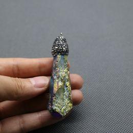 Wholesale Titanium Rainbow Quartz Wholesale - Titanium Rainbow Crystals Point Pendant Crystal Quartz Necklace Beads Gemstone Healing Stone Pendulum Pendant Natural Gems Stone Quartz