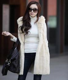 Wholesale Hooded Rabbit Fur - FG1509 Hot Fashion Women Rabbit Hair Thick Quilted Hooded Fur Vest Waist Sleeveless Long Plush Rabbit Fur Coat Fur Coat Vest 3 Colors