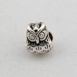 Wholesale Owl Metals - Hot !100pcs Antique Silver Alloy Owl Large Hole Spacer Bead Fit European Beads Bracelet 9x11mm