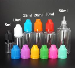 Plastica liquida poco costosa online-Cheap E-liquid Vape E bottiglia di succo 5ml 10ml 15ml 20ml 30ml 50ml PET Empty bottiglia di plastica con contagocce Caps a prova di bambino