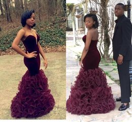 Wholesale Long Black Velvet Cocktail Dresses - 2016 Evening New Unique Black Girl Prom Sweetheart Strapless Maroon Ruffles Organza Skirt Mermaid Formal Cocktail Party Dress Evening Gowns