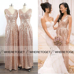 Wholesale Brilliant Lights - Champagne V-neck Long Bridesmaid Dresses 2016 Real Image Wedding Party Gowns Brilliant Spring Luxury Sequins Cheap Under 100