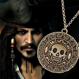 Wholesale Wholesale Pirate Caribbean Party - Aztec Coin Pirates of the Caribbean Aztec Gold Coin Necklace Men Skull Sweater Pendant Jewelry Necklaces & Pendants hot sale free shipping